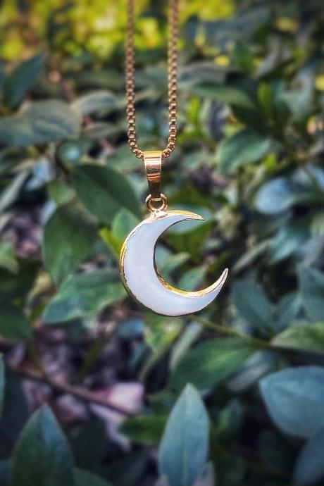 Natural Shell Crescent Moon Necklace - Dainty Moon Necklace - Moon Jewelry - Shell Moon Necklace - Natural Shell Necklace - Crescent Moon
