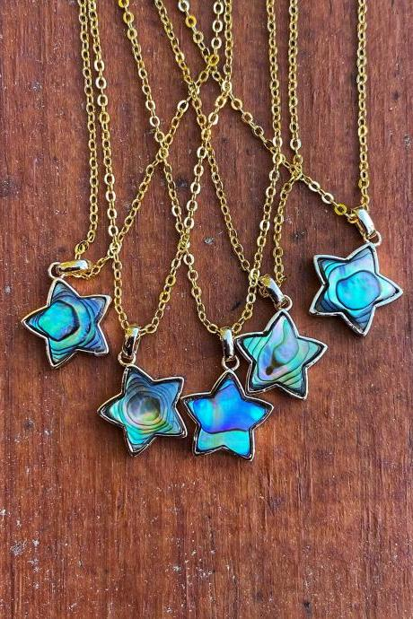 Abalone Shell Star Necklace - Abalone Necklace - Natural Abalone Necklace - Abalone Star Necklace - Star Necklace - Natural Star Necklace